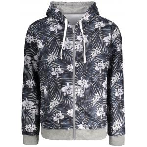 Zip Up Tropical Floral Print Hoodie