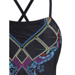 Lace Up Embroidered Plus Size Swimsuit - BLACK 2XL