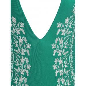 Plus Size Halter Embroidered Swimsuit - GREEN 2XL