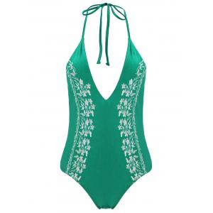 Plus Size Halter Embroidered Swimsuit