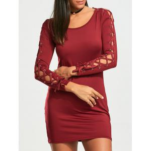 Lace Up Long Sleeve Mini Bodycon Dress