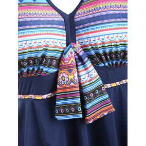 Cross Back Plus Size Skirted One Piece Swimsuit - Multicolore XL