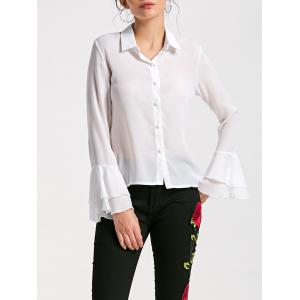 Flare Sleeve Sheer Chiffon Blouse