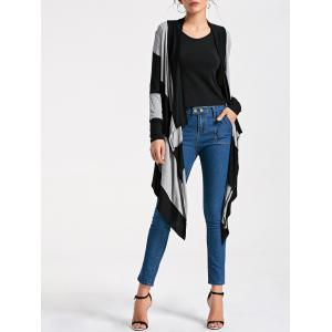 Long Two Tone Striped Drape Cardigan