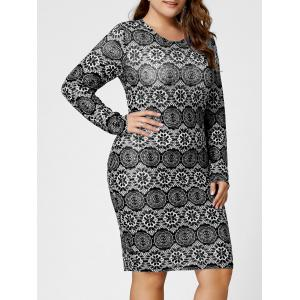 Plus Size Monochrome Long Sleeve Fitted Dress