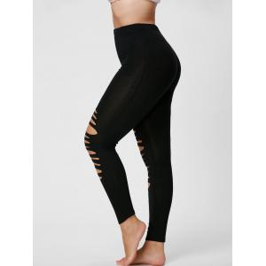 Plus Size Ripped Slim Leggings