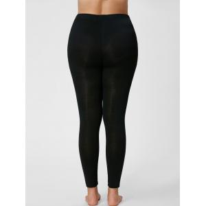 Plus Size Ripped Slim Leggings - BLACK 3XL