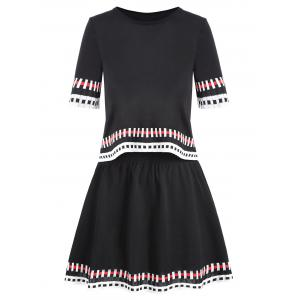 Two Piece Striped Graphic Knit Dress - Black - One Size