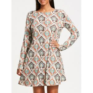 Long Sleeve Vintage Print Tunic Dress