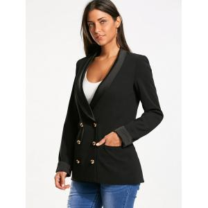 Back Slit Double Breasted Lapel Blazer - BLACK S