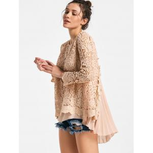 High Low Pleated Lace Blouse -