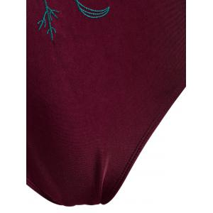 Cross Back Embroidered Plus Size Swimsuit - WINE RED 4XL
