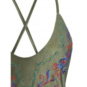 Cross Back Embroidered Plus Size Swimsuit - ARMY GREEN 3XL
