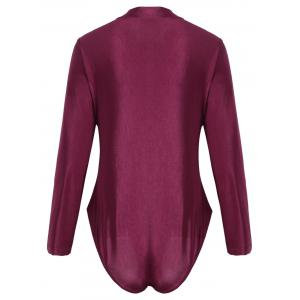 Long Sleeve Plus Size Sport Swimsuit - WINE RED XL