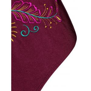 Plus Size Embroidered Sport Swimsuit - WINE RED XL