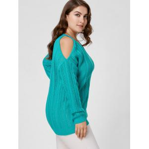 Plus Size Cold Shoulder Open Knit Sweater - BLUE GREEN XL