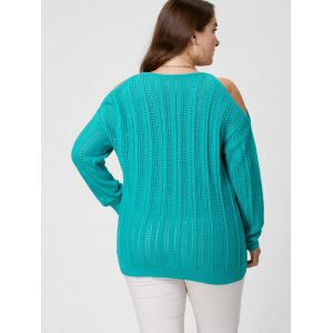 Plus Size Cold Shoulder Open Knit Sweater -