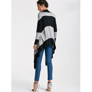 Long Two Tone Striped Drape Cardigan -
