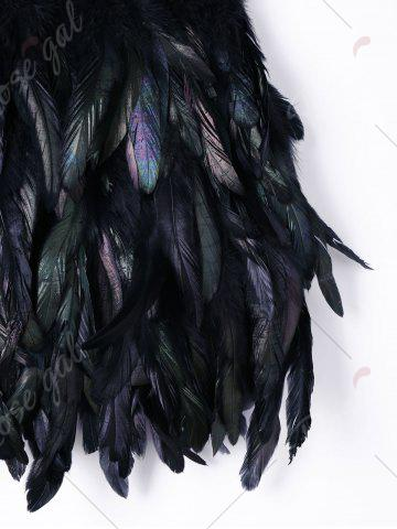 Sale Elastic Waist Feather Decorated Skirt - M BLACK Mobile