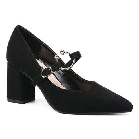 Point Toe Block Heel Suede Pumps Noir 37