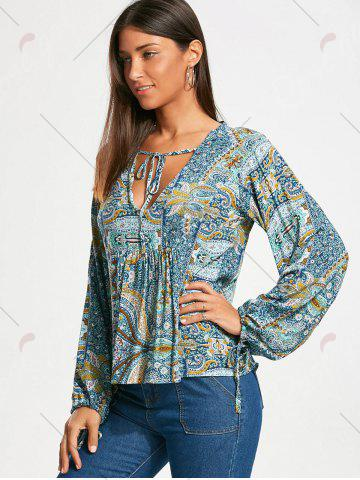 Discount Low Cut Paisley Long Sleeve Smock Blouse - M COLORMIX Mobile