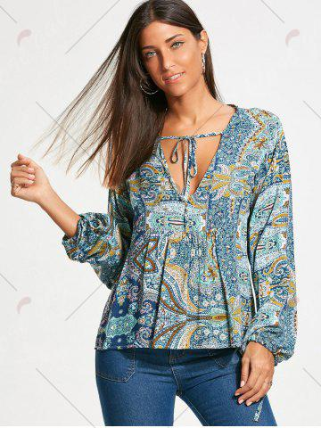 Chic Low Cut Paisley Long Sleeve Smock Blouse - M COLORMIX Mobile