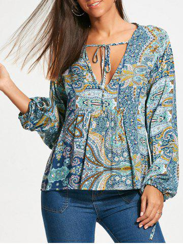 Cheap Low Cut Paisley Long Sleeve Smock Blouse - M COLORMIX Mobile