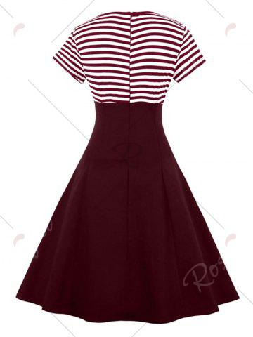 Unique Vintage Buttoned Stripe Pin Up Dress - 2XL WINE RED Mobile