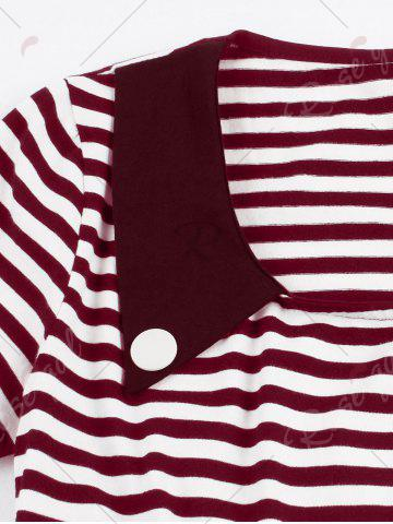 Best Vintage Buttoned Stripe Pin Up Dress - 2XL WINE RED Mobile