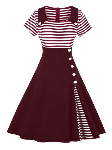 Shop Vintage Buttoned Stripe Pin Up Dress - 2XL WINE RED Mobile