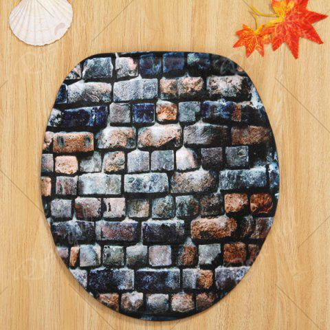 Latest Brick Wall Pattern 3 Pcs Bath Mat Toilet Mat - BLUE GRAY  Mobile