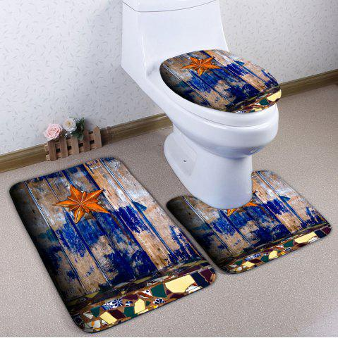 Sale 3Pcs/Set Starfish Wood Plank Printed Bath Toilet Mat WOOD COLOR