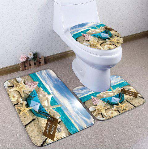 3Pcs / Set Starfish Wood Plank Print Bath Tapis de toilette Multicolore