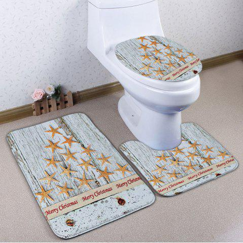 Latest Starfish Wood Grain 3Pcs Christmas Toilet Bath Rug Set - GREY WHITE  Mobile
