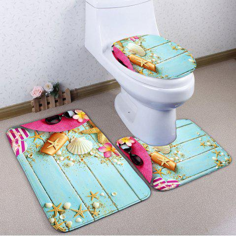 Starfish Wood Plank Print 3Pcs Ensemble de tapis de toilette Bleu Clair