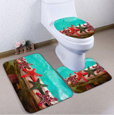 Wood and Starfish Print 3Pcs Ensemble de tapis de toilette Multicolore