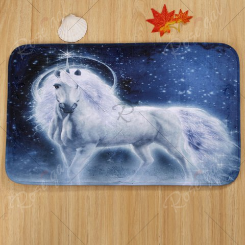 Latest Coral Velvet Fairytale Unicorn 3PCS Toilet Mats Set - BLUE  Mobile