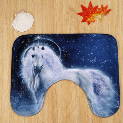 Sale Coral Velvet Fairytale Unicorn 3PCS Toilet Mats Set - BLUE  Mobile