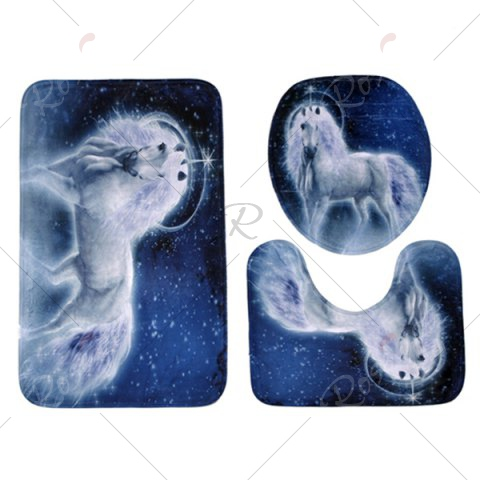 Cheap Coral Velvet Fairytale Unicorn 3PCS Toilet Mats Set - BLUE  Mobile