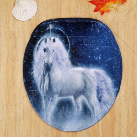 Chic Coral Velvet Fairytale Unicorn 3PCS Toilet Mats Set - BLUE  Mobile