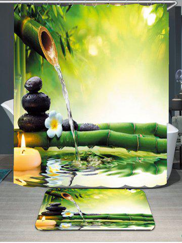 Online Flowing Water Bamboo Waterproof Rug Shower Curtain Set - W71 INCH * L71 INCH GREEN Mobile