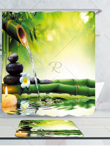 Outfits Flowing Water Bamboo Waterproof Rug Shower Curtain Set - W71 INCH * L71 INCH GREEN Mobile
