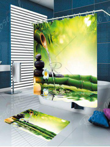 Outfits Flowing Water Bamboo Waterproof Rug Shower Curtain Set - W79 INCH * L71 INCH GREEN Mobile