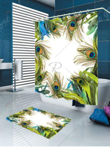 Trendy Peacock Feathers Waterproof Carpet Bath Curtain Set - W59 INCH * L71 INCH GREEN Mobile