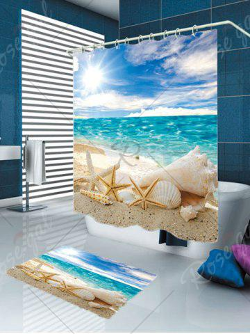 Shops Conch Shells Beach Waterproof Shower Curtain Rug Set - W59 INCH * L71 INCH BLUE Mobile