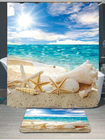 Fashion Conch Shells Beach Waterproof Shower Curtain Rug Set - W59 INCH * L71 INCH BLUE Mobile