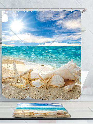 Affordable Conch Shells Beach Waterproof Shower Curtain Rug Set - W59 INCH * L71 INCH BLUE Mobile