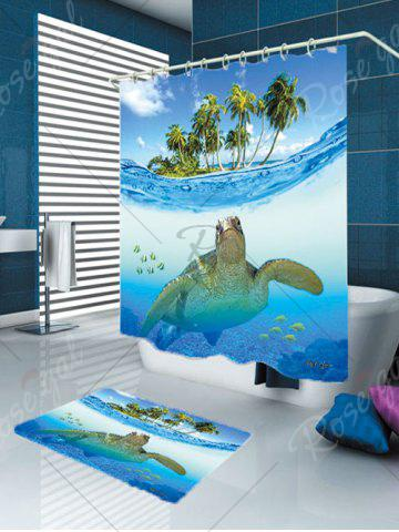Hot Sea Turtle Waterproof Shower Curtain Carpet Set - W59 INCH * L71 INCH BLUE Mobile