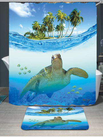 Hot Sea Turtle Waterproof Shower Curtain Carpet Set - W71 INCH * L71 INCH BLUE Mobile