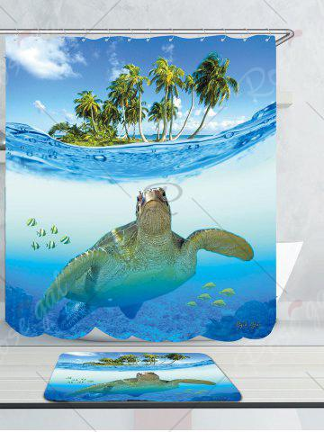 Outfits Sea Turtle Waterproof Shower Curtain Carpet Set - W79 INCH * L71 INCH BLUE Mobile